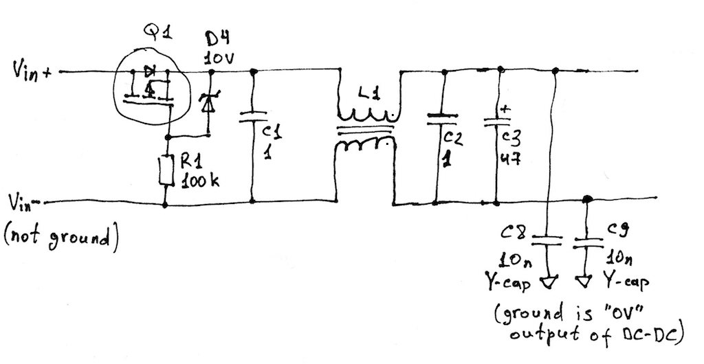 input filtering and reverse polarity protection schematic